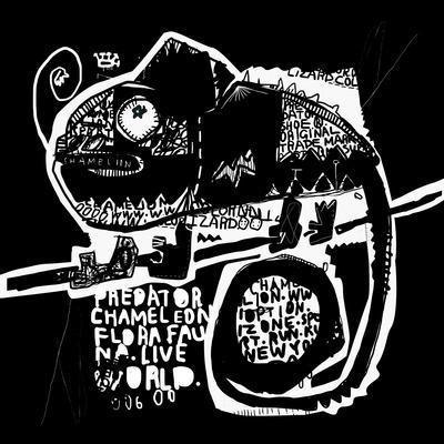 Symbolic Image of a Chameleon on a Black Background