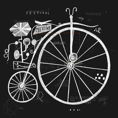 Image of an Old Bicycle with a Large Wheel