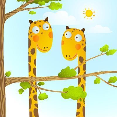 Fun Cartoon Baby Giraffe Animals in Wild for Kids Drawing. Funny Friends Giraffes Cartoon in Nature