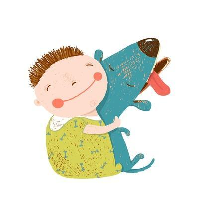 Little Boy with a Dog Hugging. Child Happiness with Friend Animal, Vector Illustration.