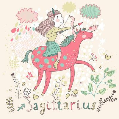 Cute Zodiac Sign - Sagittarius. Vector Illustration. Little Girl Riding on Pink Horse and Shooting