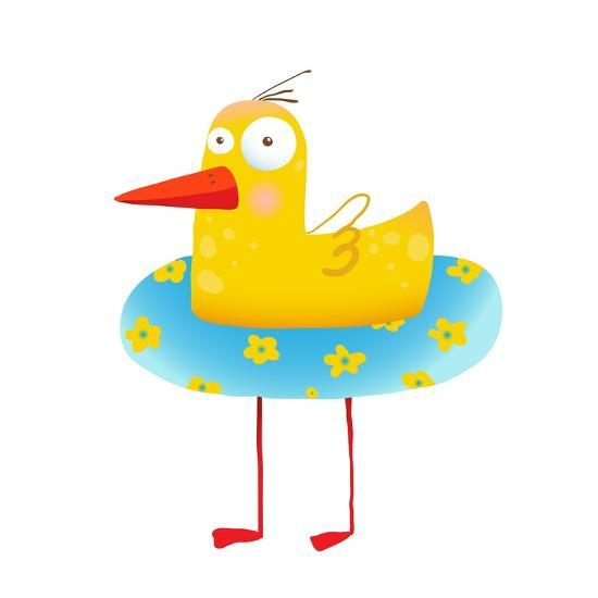 Kids Humorous Yellow Duck with Swimming Circle. Yellow ...