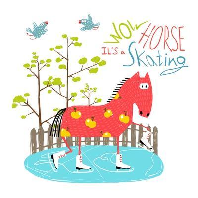 Colorful Fun Cartoon Ice Skating Horse for Kids . Countryside Amusing Skating Baby Animal Illustrat
