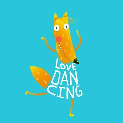 Smiling Orange Fox in Blue Dress Dancing with Text - Love Dancing. Hand Drawn Style. Cartoon Charac