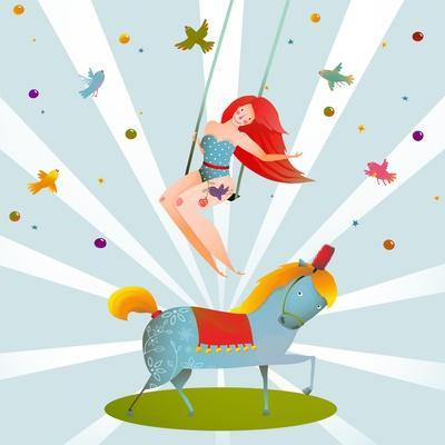 Circus Carnival Show Vintage Poster with Girl and Pony Horse. Fun and Cute Performance Vintage Cart