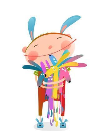 Little Kid Hugging Rabbits Funny Cute Toys. Little Girl or Boy Hugging Bunnies. Happy Child in Bunn