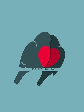 Bullfinch Birds Heart Love Couple Sitting on Twig. Birds Couple in Love Illustration. Raster Varian