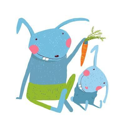 Hare and Leveret Eating Carrot . Animal Parent Bunny with Kid, Vegetarian Vegetable Eating, Vector