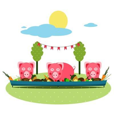 Pigs Eating Food at Farm. Funny Small Pigs Having Party Vector Illustration. Eps8 No Effects.