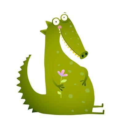Green Cute Kids Crocodile Sitting with Flower. Happy Fun Watercolor Style Animal Greeting Card for
