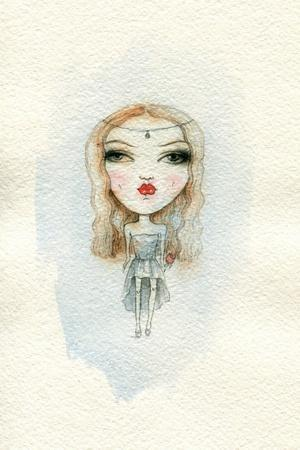 Cartoon Cute Child Girl . Watercolor Illustration