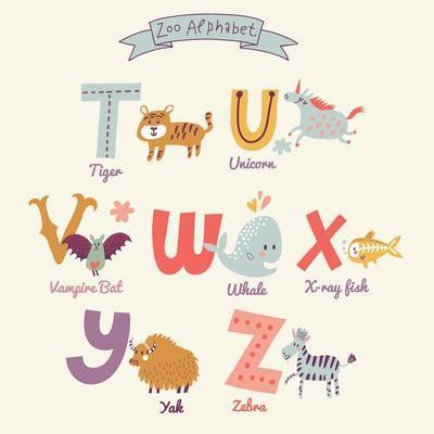 Cute Zoo Alphabet in Vector. T, U, V, W, X, Y, Z Letters. Funny Cartoon Animals. Tiger, Unicorn, Va