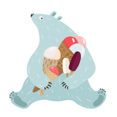 Polar Bear and Ice Cream. White Bear Holds Ice Cream. Vector Illustration Eps8.