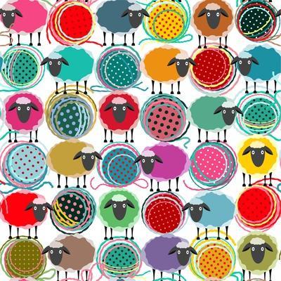 Colorful Seamless Sheep and Yarn Balls Pattern. Seamless Sheep Pattern. Vector Eps10. No Effects Us