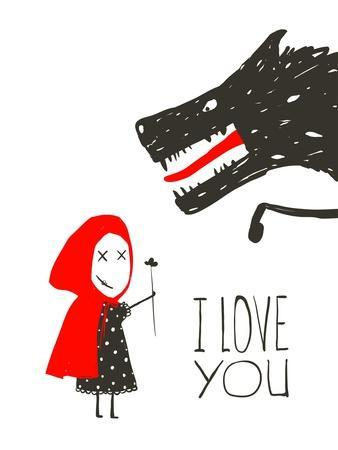 Little Red Riding Presenting Flower to Black Wolf. Little Red Riding Hood Loves Bad Horrible Wolf D