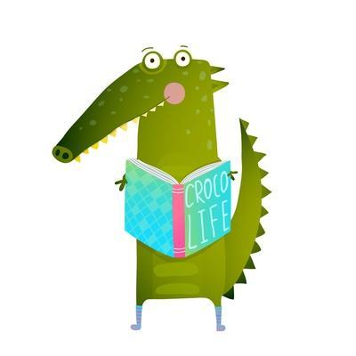 Childish Student Crocodile Reading Book and Study. Happy Fun Watercolor Style Animal Education for