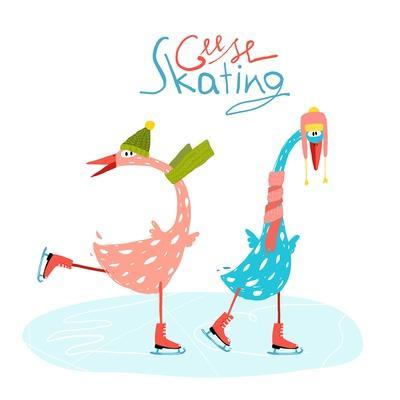 Colorful Fun Cartoon Ice Skating Geese for Kids. Countryside Amusing Skating Baby Animal Illustrati