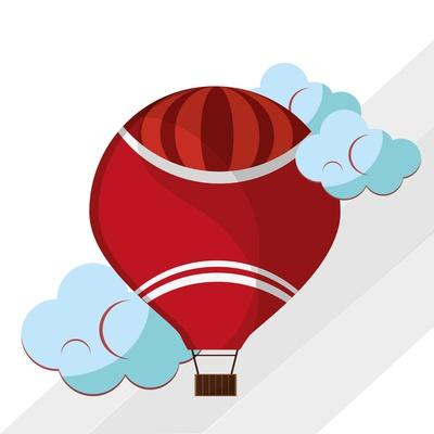 Hot Air Balloon Graphic , Vector Illustration