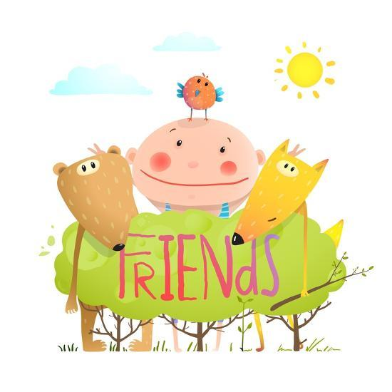 Baby Animals and Kid Childish Funny Friends Cartoon with Sign   Child Kid  and Fox, Bear Bird Cute F
