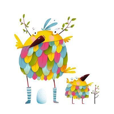 Funny Bird Family Mother and Nestling Egg Kid. Funny Bird Family Mother and Nestling. Bird Parent F