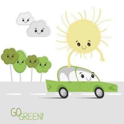 Vector Abstract Illustration of the Sun Gives Energy to Eco Car
