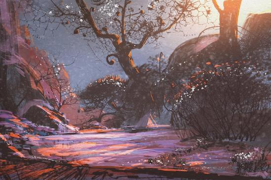 Beautiful Winter Sunset with Fantasy Trees in the Snow,Digital  Painting,Illustration