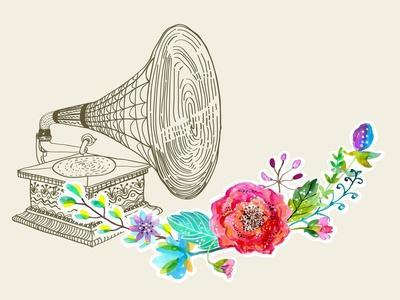 Vintage Gramophone, Record Player Background with Floral Ornament, Beautiful Illustration with Wate