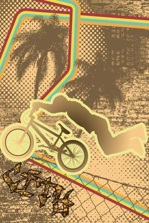 Vintage Urban Grunge Background Design with Bmx Biker Silhouette. Vector Illustration.