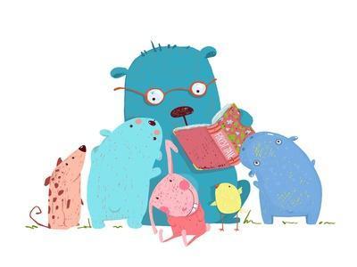 Bear Reading Book for Group of Animal Kids. Children Education and Reading. Child Learning, Teacher