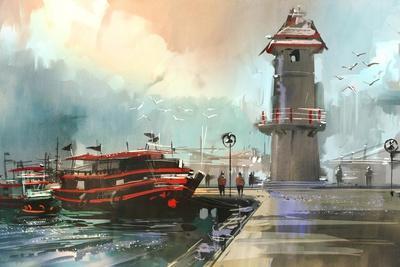 Fishing Boat in Harbor,Digital Painting,Illustration