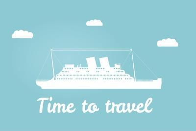 Vector an Illustration with the Image of the Ship for a Banner and a Leaflet Travel for Cruise Line