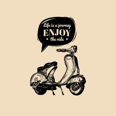 Life is a Journey, Enjoy the Ride Vector Typographic Poster. Hand Sketched Scooter Banner. Vector R