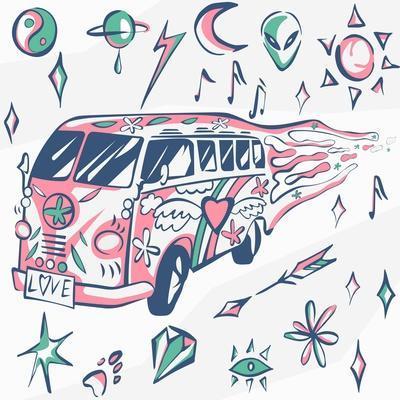 Love Bus Vector Poster. Hippie Car, Mini Van with Different Symbols. Retro Colors. Psychedelic Conc