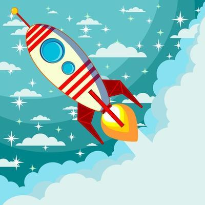 Cartoon Rocket Taking off against the Backdrop of the Moon and Clouds with Space for Text. Stock Ve