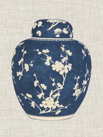 Blue & White Ginger Jar on Linen I