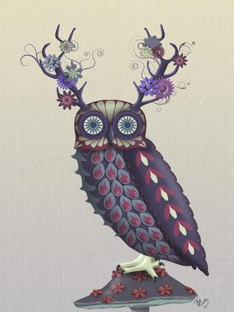 Owl with Psychedelic Antlers