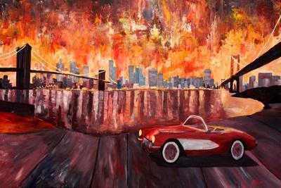 New York City Bridges with Red Corvette