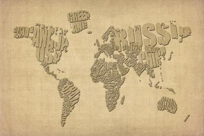 Typography Map of the World Map