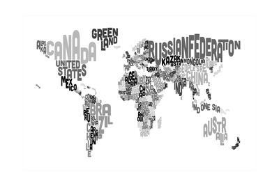 Monotone Text Map of the World Print by Michael Tompsett