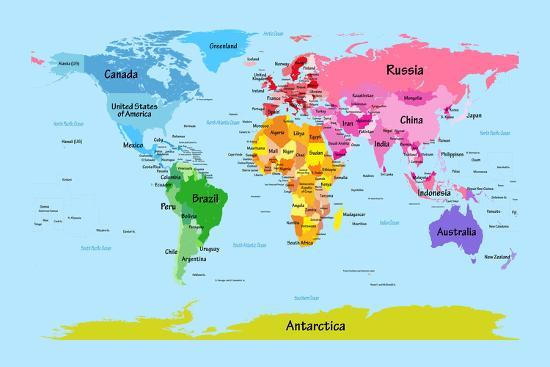 Map Of Russia For Kids.World Map With Big Text For Kids Posters By Michael Tompsett At