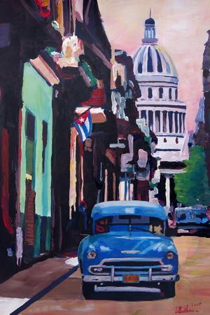 Cuban Oldtimer Street Scene in Havanna Cuba with B