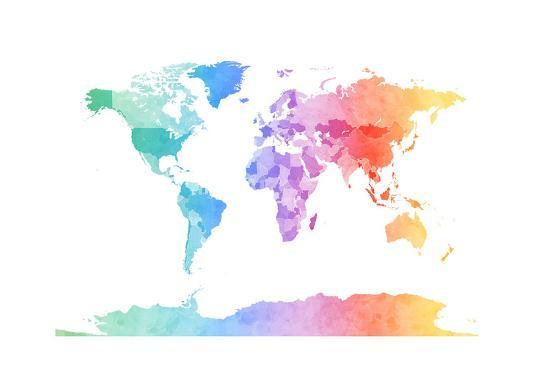 Watercolor Map of the World Map Posters by Michael Tompsett at ...