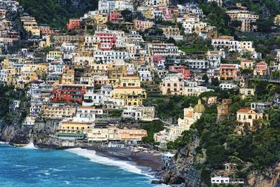 Positano Houses And Beach From Above, Italy