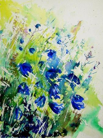 Watercolor Bluebell Flowers