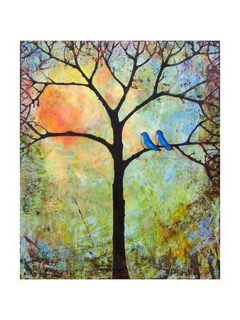 Tree Print Art Birds Sunshine Bluebirds