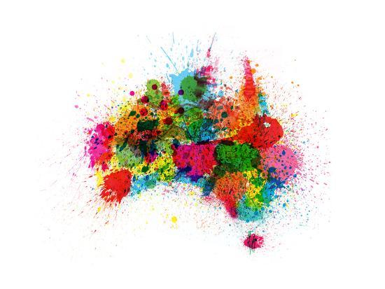 Australia Map Art.Australia Paint Splashes Map