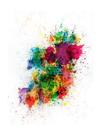 Ireland Map Paint Splashes