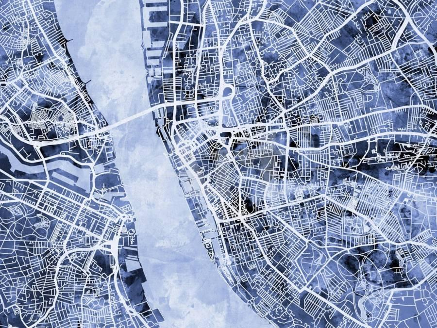 Liverpool England City Street Map Prints by Michael Tompsett at ...