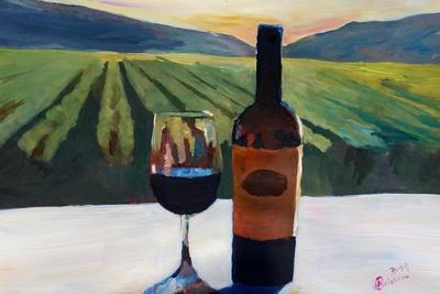 Napa Valley Wine Bottle with Red Wine