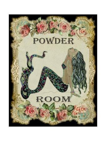 Powder Room Mermaid with Vintage Roses